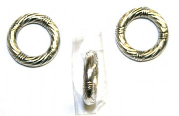 Silver Acrylic Plastic Rope Ring- 32pces- 20mm x 4mm- ACS215